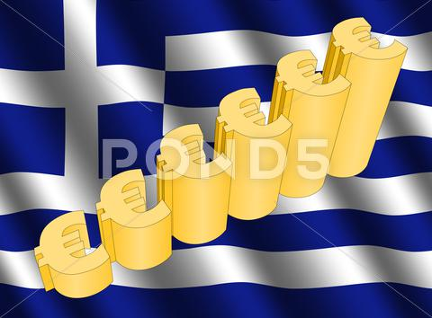 Stock Illustration of euro graph on greek flag