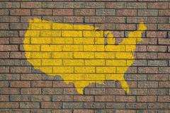 Usa map on wall Stock Illustration