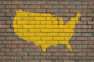 Stock Illustration of usa map on wall