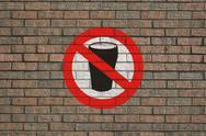 No alcohol sign on wall Stock Illustration