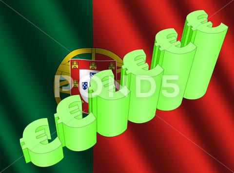 Stock Illustration of euro graph on portuguese flag