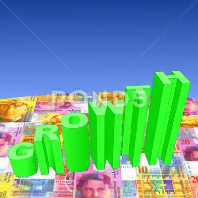 Stock Illustration of growth with swiss francs