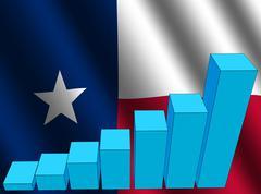 graph and texan flag - stock illustration