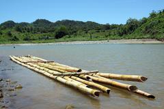bamboo raft - stock photo
