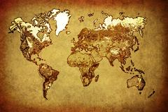 ancient map  world on old paper - stock photo