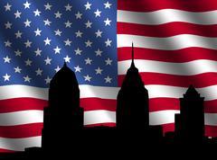 Philadelphia siluetti kanssa lippu Piirros