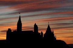 Canadian parliament at sunset Stock Illustration