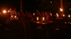 Night outdoor candle dinner couple tropical theme Mexico HD 4273 Stock Footage