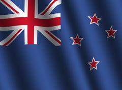 rippled new zealand flag - stock illustration