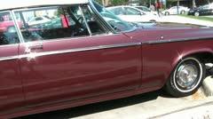 Maroon Vintage Ragtop Car Stock Footage