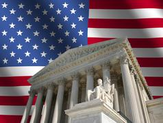 supreme court with flag - stock illustration