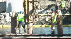 Men at Work on River Stock Footage