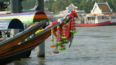 Colorful longtail boats with watertaxi at the background Stock Footage