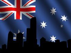 melbourne skyline and australian flag - stock illustration