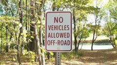 No Vehicles Allowed Off-Road Sign Stock Footage