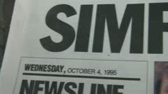 OJ Simpson Verdict Newspaper - stock footage