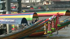 Colorful longtail boats in Bangkok Stock Footage