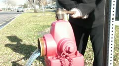 Opening Red Fire Hydrant Stock Footage