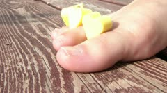 Painting ToeNails Red Stock Footage