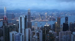 Dusk Aerial View, Hong Kong Island Skyline, Victoria Harbour, Kowloon time lapse Stock Footage