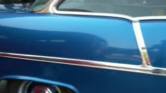 Pan of Midnight Blue Chevy Classic Car Stock Footage