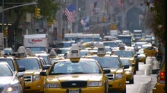 Yellow cabs taxi cars traffic in New York City Manhattan Park Avenue - stock footage