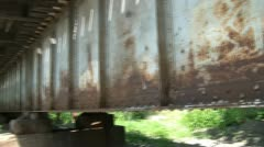 Pan of Rusty Railroad Bridge Stock Footage