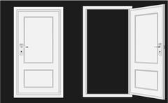 Opened and closed door Stock Illustration