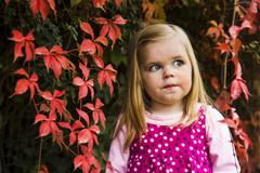 Stock Photo of cute young girl against red leaves.