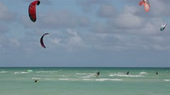Kite surfing on the coast of cuba. island of cayo guillermo in the atlantic o Stock Footage
