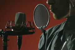 Singer and Microphone Stock Footage