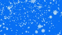 Snow on blue background, loop - stock footage
