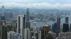 Hong Kong Island Skyline, Victoria Harbour, Aerial View of Kowloon Peninsula Stock Footage