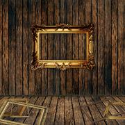 Stock Illustration of antique gilded frame over wooden wall.