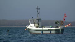 Fishing Boat on Salzhaff near Rerik - Baltic Sea, Northern Germany Stock Footage