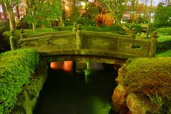 Japanese garden by night Stock Photos