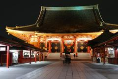 Asakusa Temple by night Stock Photos