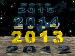 New year 2013 over the sand of time Stock Illustration