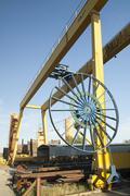 yellow gantry crane - stock photo