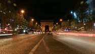 Champs d'Elysees. Timelapse. Slow zoom in. Stock Footage