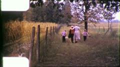 Children Grandmother WALK AUTUMN FIELD 1950s Vintage 8mm Film Home Movie 5913 - stock footage