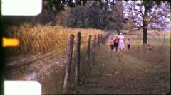 Children Grandmother WALK AUTUMN FIELD 1950s Vintage 8mm Film Home Movie 5914 Stock Footage