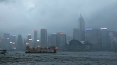 Boats, Ferries Passing, Hong Kong Skyline, Rainy Day Afternoon, China, Mansoon Stock Footage