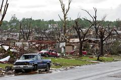 Tornado Damage & Destruction – EF5 Joplin Missouri Storm Aftermath & Cleanup - stock photo