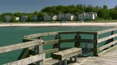 Wooden Pier in Heiligendamm - Baltic Sea, Northern Germany Stock Footage