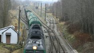 Train of freight wagons and tanks Stock Footage
