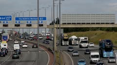 rush hour traffic traveling on the A1/M motorway Leeds, UK - stock footage