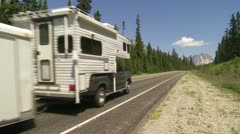 Camper on mountain road - stock footage