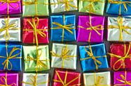 Stock Photo of many colorful  gift boxes