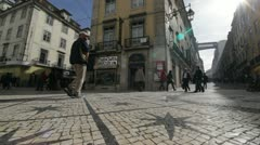 Lisbon city centre - dolly shot Stock Footage